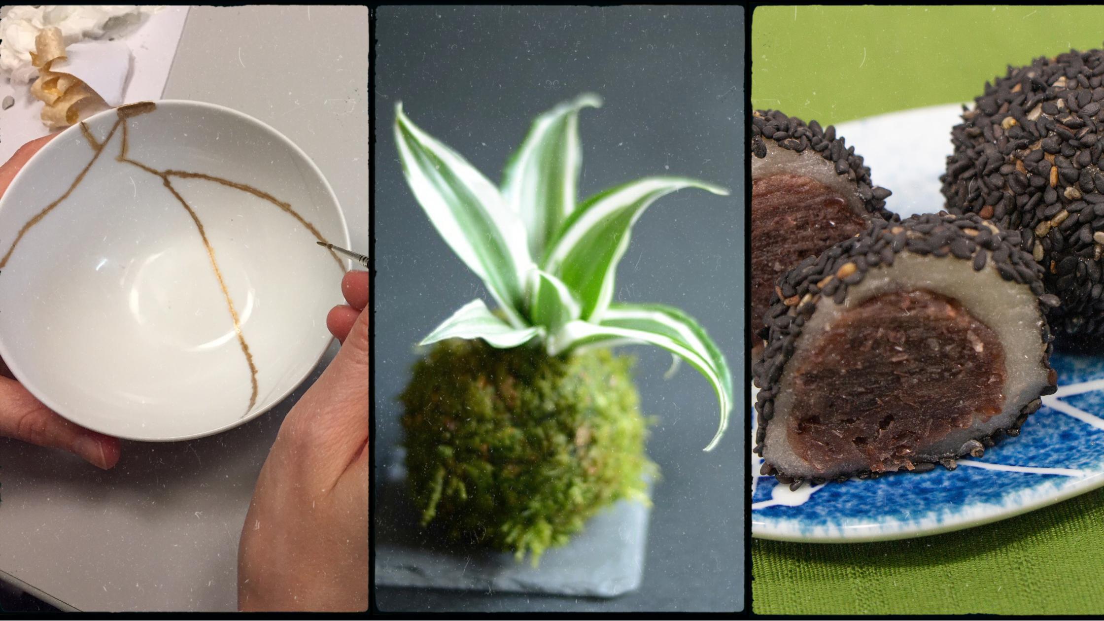 Ce week end à Espace Japon : kintsugi, kokedama, calligraphie, atelier pâtisserie ...